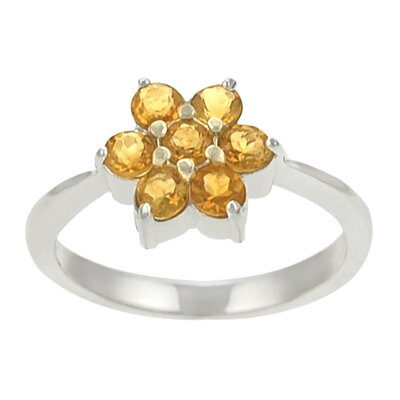 Skyline Silver Sterling Silver and Yellow Topaz Flower Ring