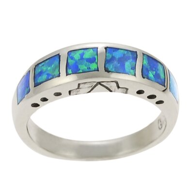 Sterling Silver and Blue Opal Band