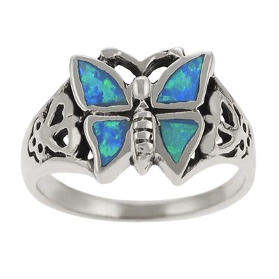 Sterling Silver and Blue Opal Butterfly Ring