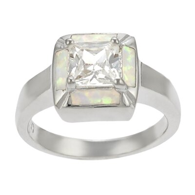 Sterling Silver and Square White Opal with CZ Center Ring