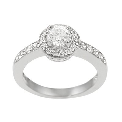 Skyline Silver Sterling Silver Round Cut CZ Pave Ring
