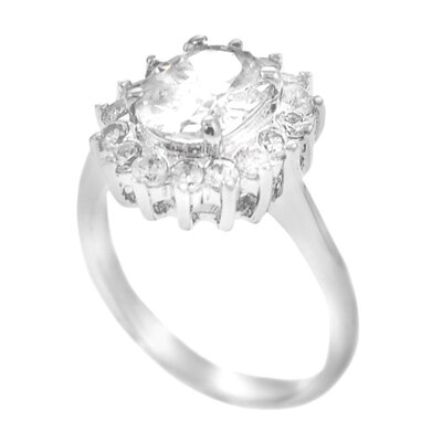 Skyline Silver Sterling Silver Center Oval Cut CZ Ring