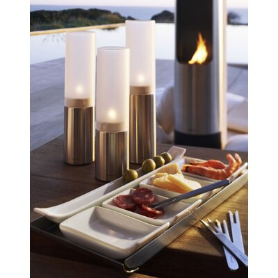 Blomus Faro Small Stainless Steel and Frosted or Clear Glass Hurricane (Set of 3)