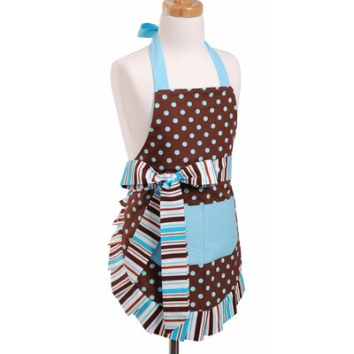 Flirty Aprons Girl's Apron in Blue/Chocolate