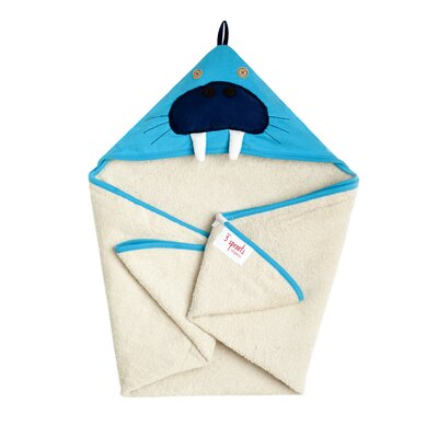 3 Sprouts Blue Walrus Hooded Towel