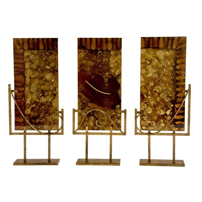 Ambiente Handmade Glass Sculptural Panels with Iron Stands in Autumn (Set of 3)