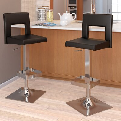 dCOR design Square Padded Adjustable Bar Stool (Set of 2)