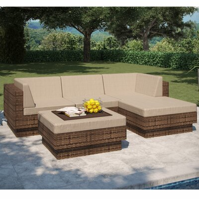 dCOR design Park Terrace Saddle Strap 5 Piece Seating Group