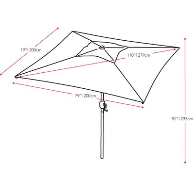 "dCOR design 98.5"" CorLiving Square Market Umbrella"