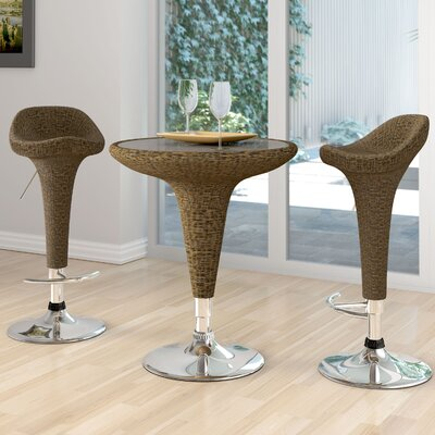 dCOR design Bistro Table with Glass Top and Chairs