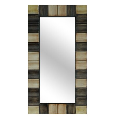 Crestview Collection Resin Checkerboard Wall Mirror in Gold and Bronze