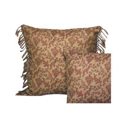 Vine Floral Wool Toss Pillow with Hand Knotted Fringe