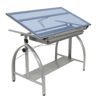 Studio Designs Avanta Drafting Table in Silver and Blue Glass