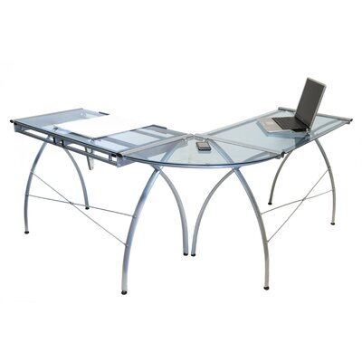 Studio Designs Futura LS Work Table in Silver and Blue Glass | Wayfair