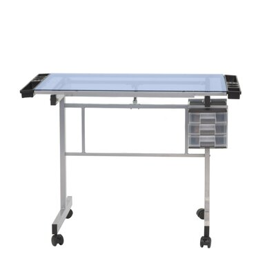 Studio Designs Vision Station Glass Drafting Table with Metal Support Bars