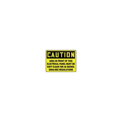 "Accuform Manufacturing Inc X 14"" Black And Yellow Aluminum Value™ Clearance And Space Sign Caution Area In Front Of This Electrical Panel Must Be Kept Clear For 36 Inches. OSHA-NEC Regulations"