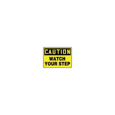 "Accuform Manufacturing Inc X 14"" Black And Yellow Aluminum Value™ Fall Protection Sign Caution Watch Your Step"