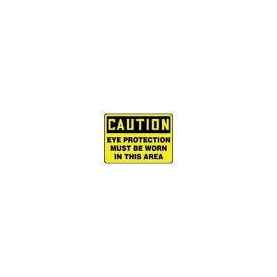 "Accuform Manufacturing Inc X 10"" Black And Yellow Adhesive Vinyl Value™ Personal Protection Sign Caution Eye Protection Must Be Worn In This Area"