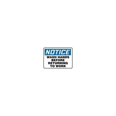 "Accuform Manufacturing Inc X 10"" Blue, Black And White Adhesive Vinyl Value™ Wash Hands Sign Notice Wash Hands Before Returning To Work"