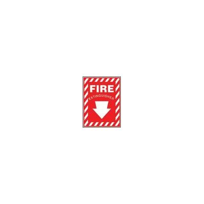 "Accuform Manufacturing Inc X 7"" Red And White Plastic Value™ Extinguisher Sign Fire Extinguisher With Down Arrow"