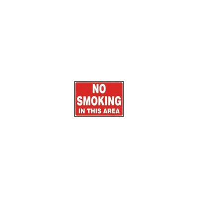 "Accuform Manufacturing Inc X 14"" Red And White Adhesive Vinyl Value™ No Smoking Sign No Smoking In This Area"
