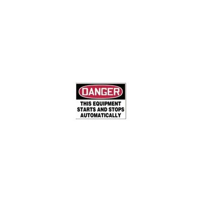 "Accuform Manufacturing Inc X 10"" Red, Black And White Adhesive Vinyl Value™ Equipment Sign Danger This Equipment Starts And Stops Automatically"