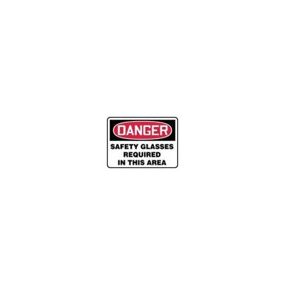 "Accuform Manufacturing Inc X 10"" Red, Black And White Adhesive Vinyl Value™ Personal Protection Sign Danger Safety Glasses Required In This Area"