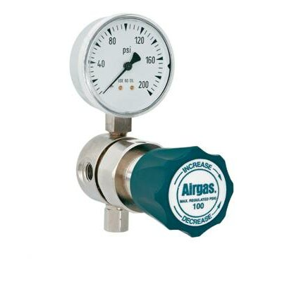 Airgas - 100 PSI Delivery Analytical Single Stage High-Purity Brass Line Regulator With 1200 PSI Maximum Rated Inlet Pressure