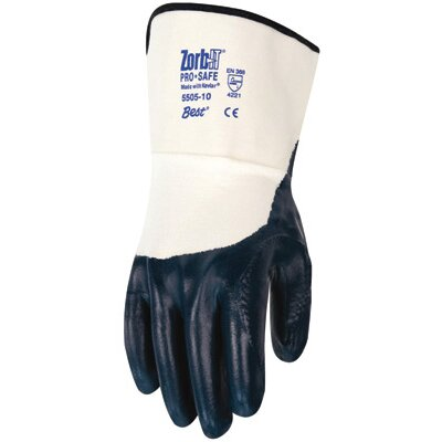 Best Manufacturing Co Size 8 Blue And White Zorb-IT® Pro-Safe Aramid And Cotton Fully Coated Sponge Nitrile Coated Work Gloves With Para-aramid synthetic fiber Palm And Safety Cuffs
