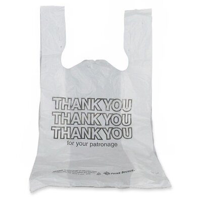 "Bunzl Thank You Bags, 12-Mic, 11-1/2""x6-1/2""x21"", 1000 Count, White"