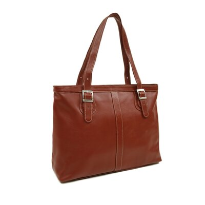 Piel Leather Ladies Laptop Tote in Red