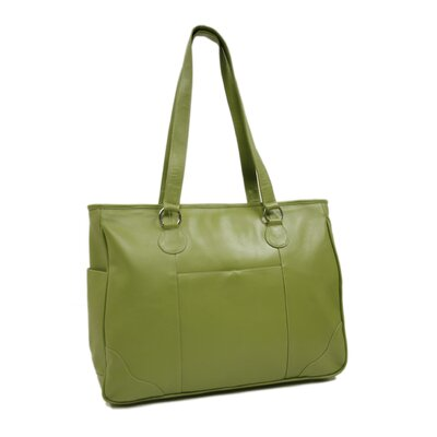Piel Leather Ladies Multi-Pocket Laptop Tote