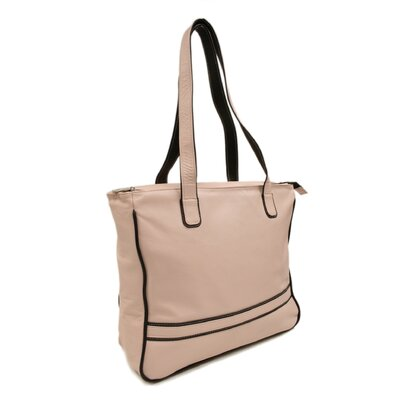 Piel Leather Women's Laptop Shopping Tote in Pastel Pink with Chocolate Trim