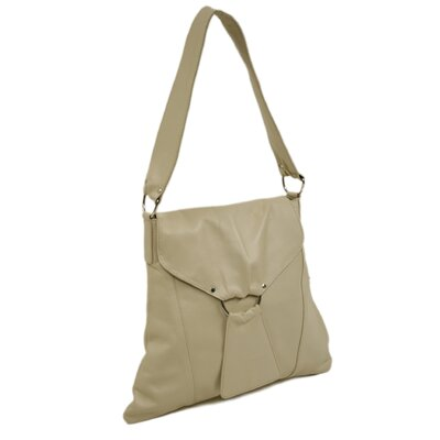 Piel Leather Women's Ring Flap Hobo Bag in Ivory