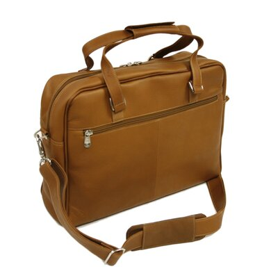 Piel Leather Two-Pocket Satchel in Saddle