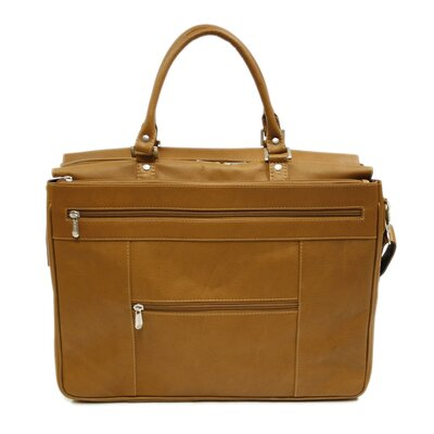 Piel Leather Large Briefcase / Carry-On Bag in Saddle