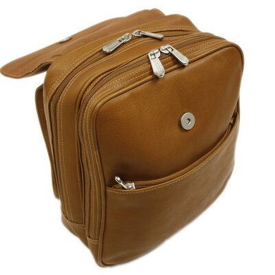 Piel Leather Entrepreneur Flap-Over Mini Backpack in Saddle