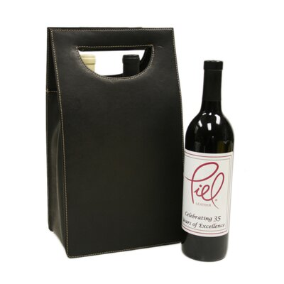 Piel Leather Double Wine Carrier in Chocolate