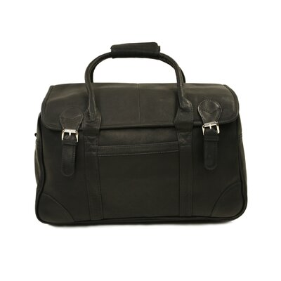 Piel Leather Traveler Flap-Over Carry-On in Black