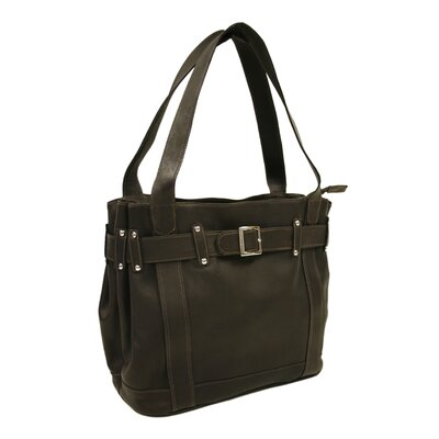 Piel Leather Fashion Avenue Large Belted Tote in Chocolate