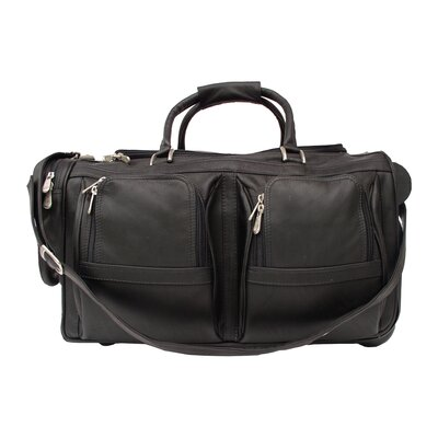 "Piel Leather Traveler 20"" Leather Travel Duffel with Pockets on Wheels"
