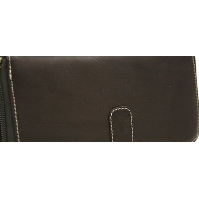 Piel Leather Women's Zip Around Wallet in Chocolate