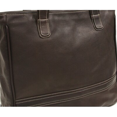Piel Leather Women's Laptop Shopping Tote in Chocolate