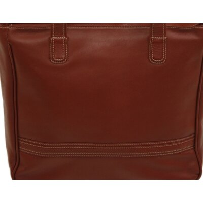 Piel Leather Women's Laptop Shopping Tote in Red