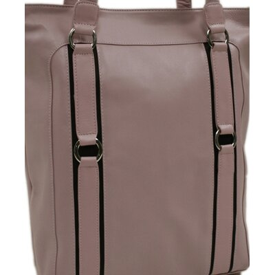 Piel Leather Women's Vertical Tote in Pink with Chocolate Trim