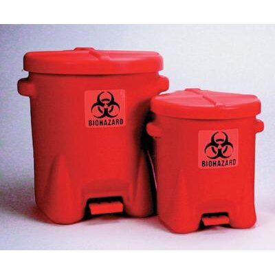 "Eagle Manufacturing Company 1/2"" X 13 1/2"" X 16"" Red 6 Gallon Biohazard Waste Cans"