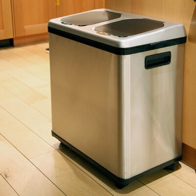 itouchless Stainless Steel Dual-Compartment Recycle Bin