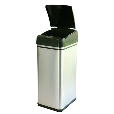 itouchless 13 Gallon Deodorizer Stainless Steel Automatic Touchless Trash Can with Carbon ...