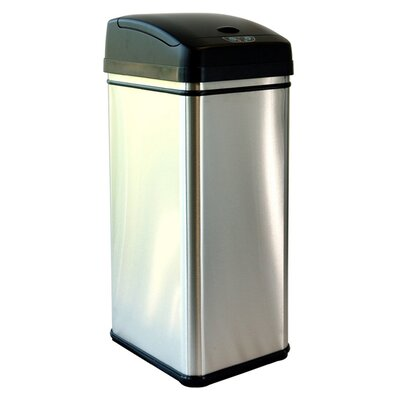 iTouchless 13 Gallon Deodorizer Stainless Steel Automatic Touchless Trash Can with Carbon Filter Technology