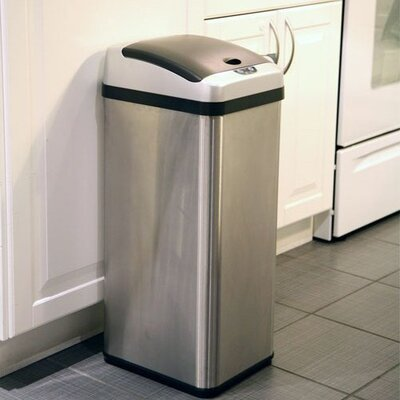 iTouchless 13 Gallon Rectangular Extra-Wide Opening Touchless Trash Can in Brushed Stainless Steel
